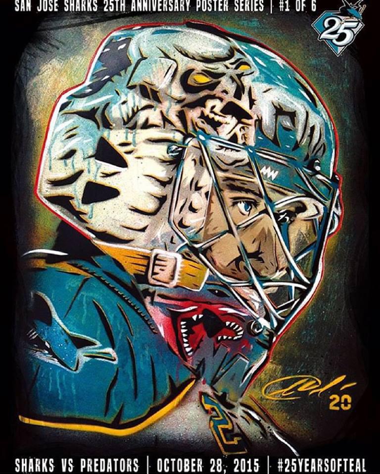 first rate 9b74a 92ce8 Jason Adams x San Jose Sharks 25th Anniversary Poster Series ...