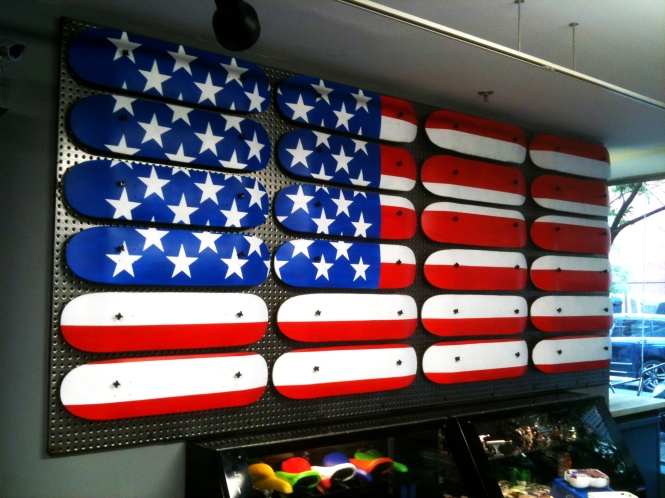 American Flag made from recycled skateboard decks by Ryan Humphrey
